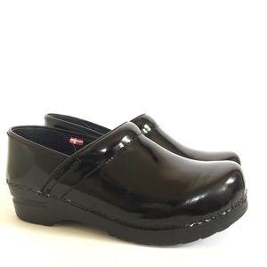 Sanita Professional Black Patent Leather Clogs 38